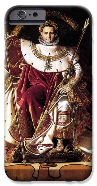 Emperor iPhone Cases - Emperor Napoleon I On His Imperial Throne iPhone Case by War Is Hell Store