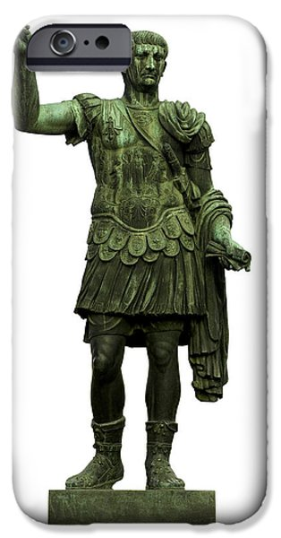 Cut-outs iPhone Cases - Emperor Trajan iPhone Case by Fabrizio Troiani