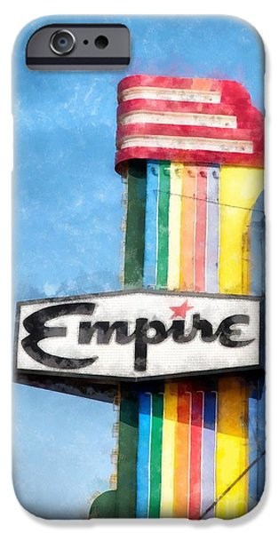 Neon iPhone Cases - Empire Movie Theater Neon Sign iPhone Case by Edward Fielding