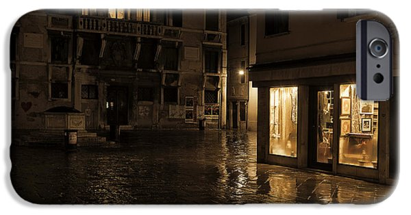 Shop Windows iPhone Cases - Winters night in Venice iPhone Case by Marion Galt