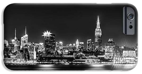 New Jersey iPhone Cases - Empire State At Night - BW iPhone Case by Az Jackson
