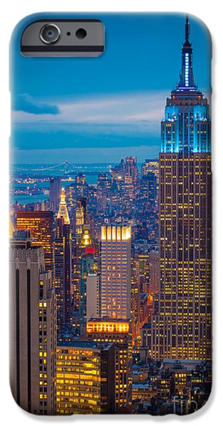 Empire State iPhone Cases - Empire State Blue Night iPhone Case by Inge Johnsson