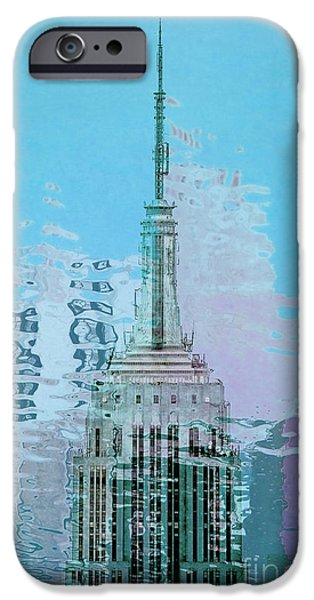 Empire State Digital iPhone Cases - Empire State Building 1 iPhone Case by Az Jackson