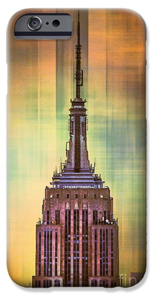 Empire State Digital iPhone Cases - Empire State Building 3 iPhone Case by Az Jackson