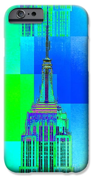 Empire State Digital iPhone Cases - Empire State Building 5 iPhone Case by Az Jackson