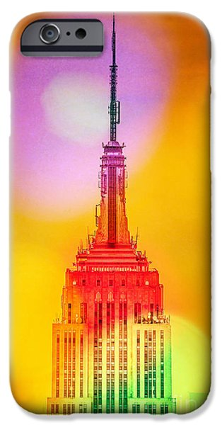 Empire State Digital iPhone Cases - Empire State Building 6 iPhone Case by Az Jackson