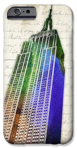 Skyscrapers Mixed Media iPhone Cases - Empire State Building iPhone Case by Aged Pixel