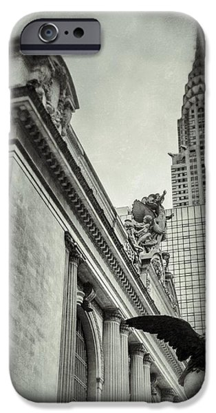 Empire State Building And Grand Central Station Vintage Black And White iPhone Case by For Ninety One Days