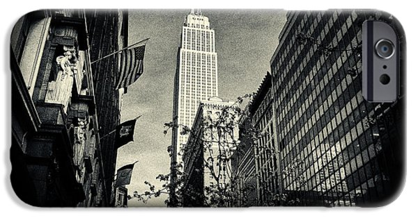 Filmnoir iPhone Cases - Empire State Building and Macys in New York City iPhone Case by Sabine Jacobs