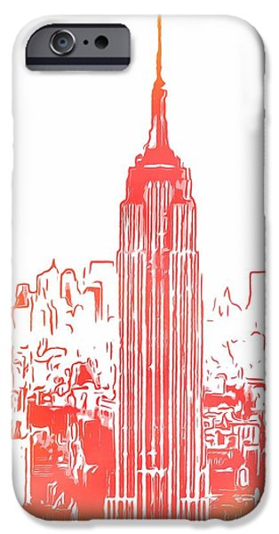 Empire State Mixed Media iPhone Cases - Empire State Building And Manhattan Skyline Sketch iPhone Case by Dan Sproul