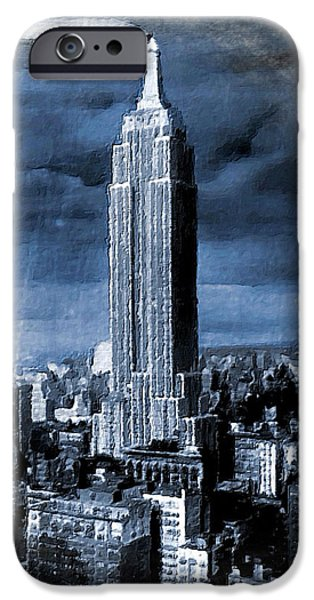 Buildings Mixed Media iPhone Cases - Empire State Building Blimp Docking Blue iPhone Case by Tony Rubino