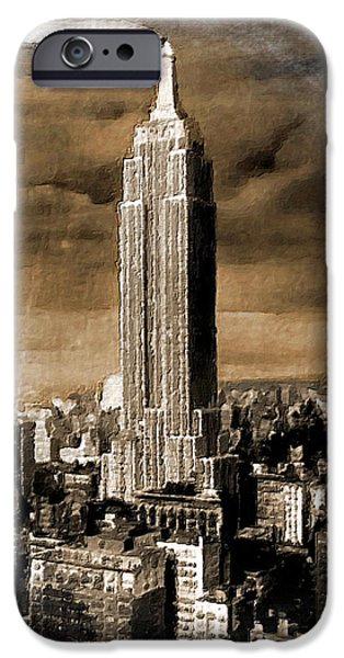 Buildings Mixed Media iPhone Cases - Empire State Building Blimp Docking Sepia iPhone Case by Tony Rubino
