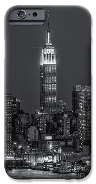 Hudson River iPhone Cases - Empire State Building by Moonlight II iPhone Case by Clarence Holmes