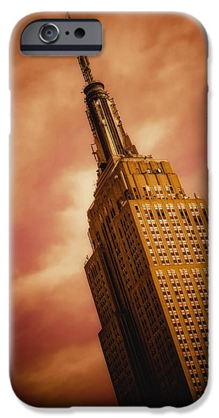 Time Pyrography iPhone Cases - Empire State Building iPhone Case by Hemantha Fernando