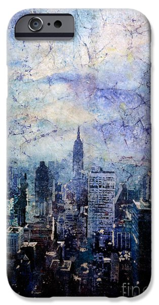 Online-art Paintings iPhone Cases - Empire State Building in Blue iPhone Case by Ryan Fox
