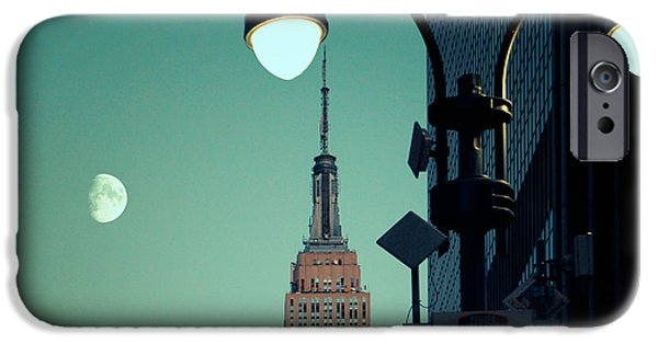 Night Lamp iPhone Cases - Empire State Building in the Early Evening iPhone Case by Sabine Jacobs