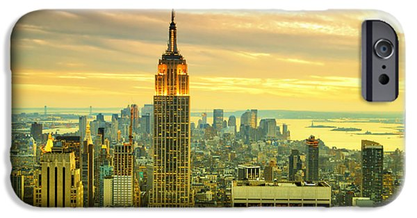 Hudson River iPhone Cases - Empire State Building in the Evening iPhone Case by Sabine Jacobs