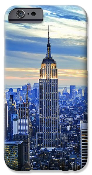 Sunset iPhone Cases - Empire State Building New York City USA iPhone Case by Sabine Jacobs