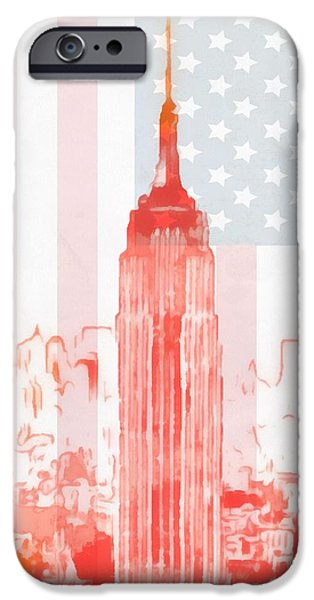 Buildings Mixed Media iPhone Cases - Empire State Building On American Flag iPhone Case by Dan Sproul