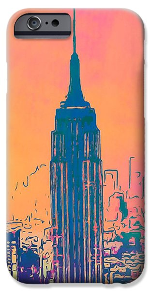 Empire State Mixed Media iPhone Cases - Empire State Building Pop Art iPhone Case by Dan Sproul