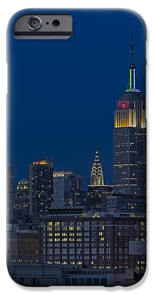 Hudson River iPhone Cases - Empire State Twilight iPhone Case by Susan Candelario