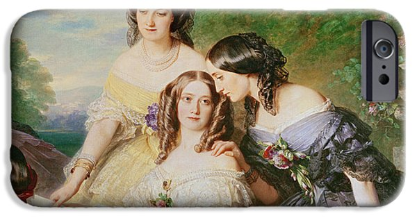 Baroness iPhone Cases - Empress Eugenie 1826-1920 And Her Ladies In Waiting, Detail Of Baronne De Malaret, Nee Nathalie De iPhone Case by Franz Xaver Winterhalter