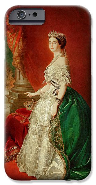 Court iPhone Cases - Empress Eugenie Of France 1826-1920 Wife Of Napoleon Bonaparte Iii 1808-73 Oil On Canvas iPhone Case by Franz Xaver Winterhalter