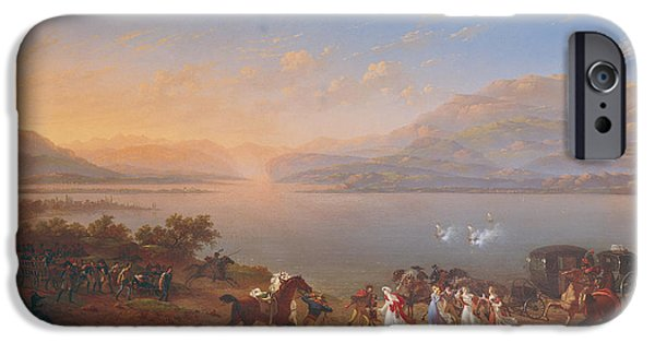 Carriages iPhone Cases - Empress Josephine 1763-1814 Arriving To Visit Napoleon 1769-1821 In Italy On The Banks Of Lake iPhone Case by Hippolyte Lecomte