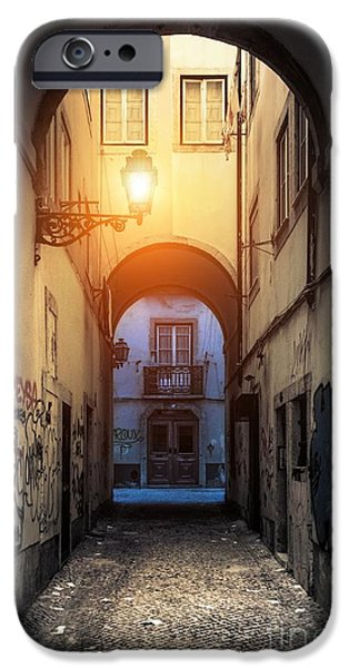 Night Lamp iPhone Cases - Empty Alley iPhone Case by Carlos Caetano