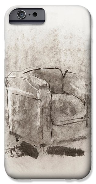 Eerie Paintings iPhone Cases - Empty armchair iPhone Case by Janet Goddard