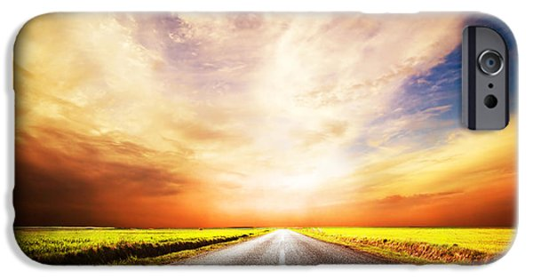 Asphalt iPhone Cases - Empty asphalt road. Sunset Sky iPhone Case by Michal Bednarek