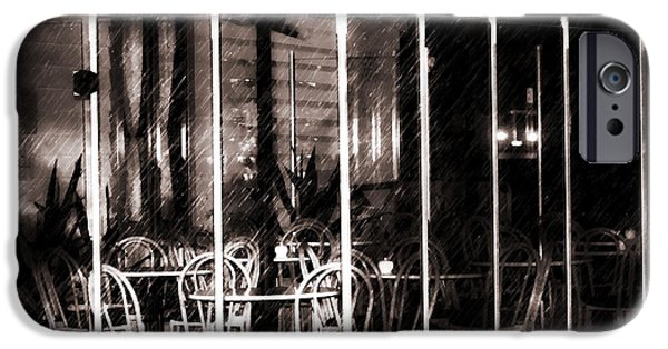 Empty Chairs iPhone Cases - Empty Chairs And Empty Tables - Soft Sepia Vintage iPhone Case by Georgiana Romanovna