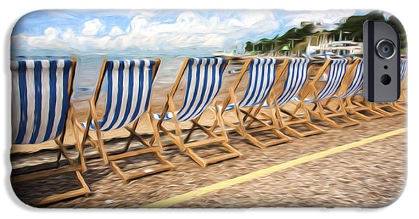 Empty Chairs iPhone Cases - Empty deckchairs at Southend on Sea iPhone Case by Sheila Smart