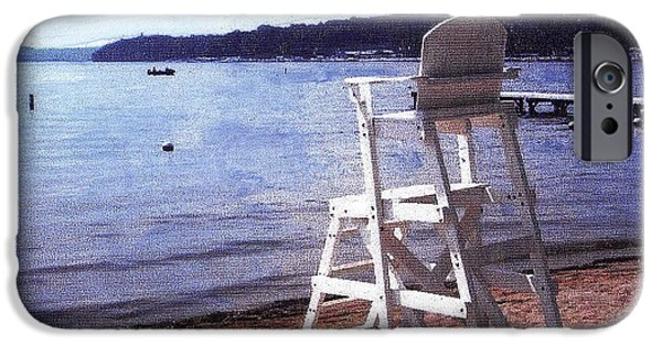 Fed Mixed Media iPhone Cases - Empty Lake Empty Beach Summers Out of Reach  Williams Bay  WI iPhone Case by Jane Butera Borgardt