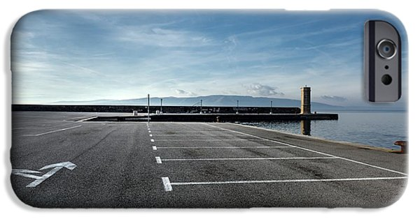Business Pyrography iPhone Cases - Empty parking lot at the sea iPhone Case by Oliver Sved
