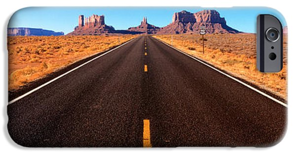 Red Rock iPhone Cases - Empty Road, Clouds, Blue Sky, Monument iPhone Case by Panoramic Images
