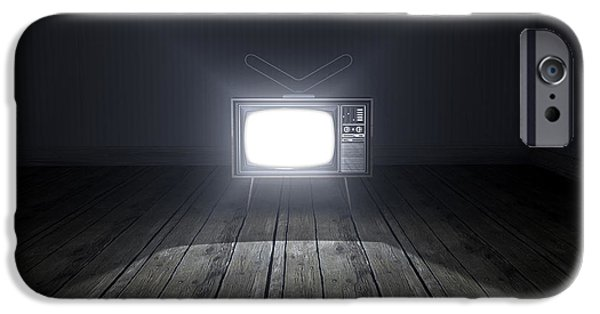 Flooring iPhone Cases - Empty Room With Illuminated Television iPhone Case by Allan Swart