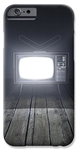 Empty Room With Illuminated Television iPhone Case by Allan Swart