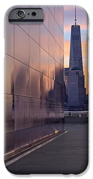 Freedom iPhone Cases - Empty Sky Memorial And Freedom Tower Sunrise iPhone Case by Susan Candelario