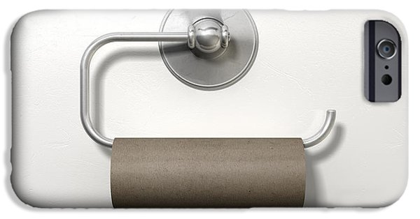 Anguish iPhone Cases - Empty Toilet Roll On Chrome Hanger iPhone Case by Allan Swart
