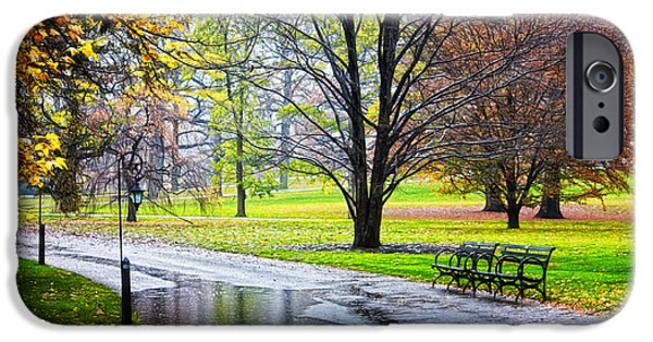 Nyc Rain iPhone Cases - Empty walkway on a beautiful rainy autumn day iPhone Case by Nishanth Gopinathan
