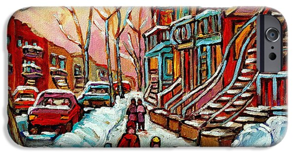 Plateau Montreal Paintings iPhone Cases - En Hiver Streets Of Verdun Walking The Dog Snowy Streets Montreal Winter City Scene Carole Spandau iPhone Case by Carole Spandau