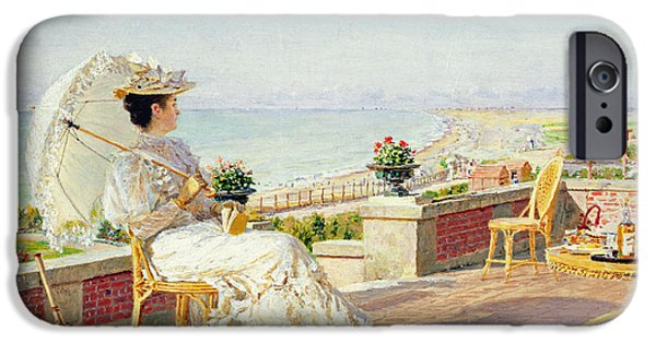 Balcony iPhone Cases - En Vacance Oil On Panel iPhone Case by Marie Francois Firmin-Girard