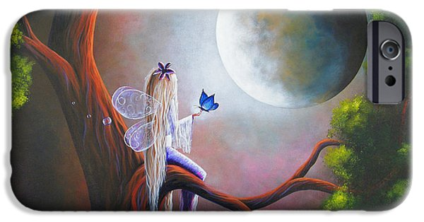 Angel Blues iPhone Cases - Original Fairy Artwork by Shawna Erback iPhone Case by Shawna Erback