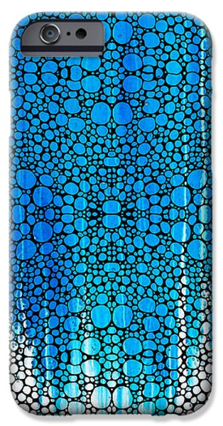 Buying Online Digital Art iPhone Cases - Enchanted - Blue and White Abstract Stone Rockd Art By Sharon Cummings iPhone Case by Sharon Cummings