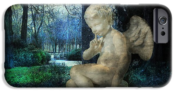 Night Angel iPhone Cases - Enchanted Cherub iPhone Case by Evie Carrier