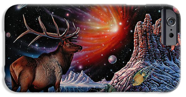Nebula Paintings iPhone Cases - Enchanted Monarch iPhone Case by Ricardo Chavez-Mendez