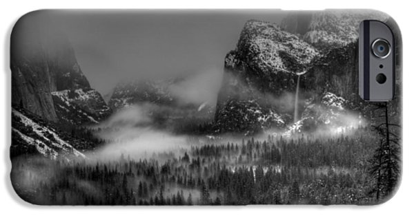 Storm iPhone Cases - Enchanted Valley in Black and White iPhone Case by Bill Gallagher