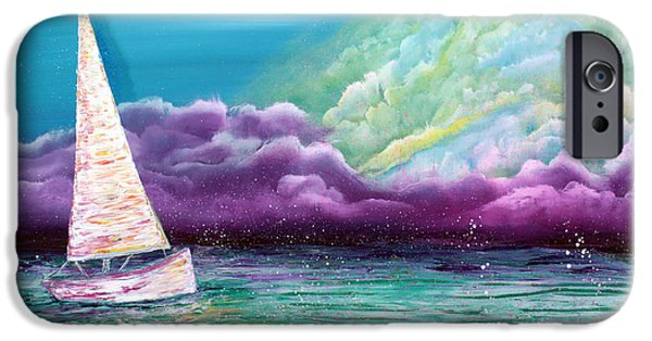 Sailboat Ocean Mixed Media iPhone Cases - Enchanted Voyage iPhone Case by Laura Barbosa