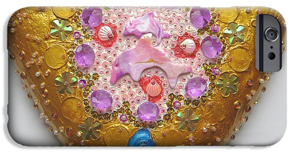 Magical Reliefs iPhone Cases - Enchanting dolphin world iPhone Case by Heidi Sieber